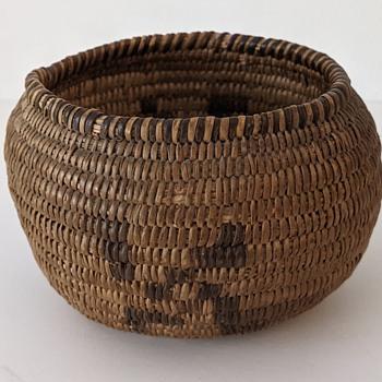 Old Olla Form Native American Basket-Swastika - Native American