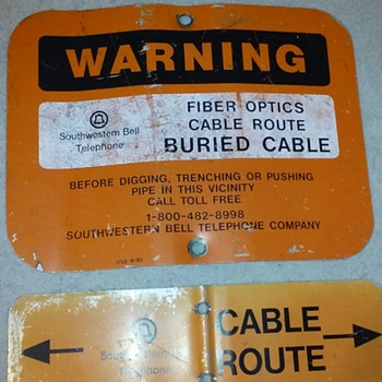 found myself another TELCO 'buried cable' warning sign(s)! - Signs