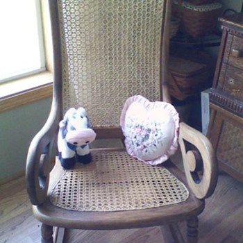 spider web, cane backed, Lincoln rocker