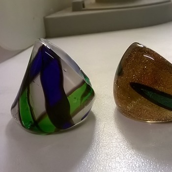 Blown Glass Rings, Thrift Shop Find, $1.00 - Art Glass