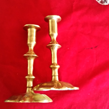 Brass candlesticks sword and key maker's mark - Lamps