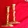 Brass candlesticks sword and key maker's mark