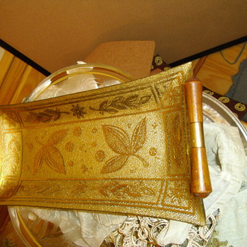 Retro Eames teak handles with brass a beautiful patterned glass server tray - Mid-Century Modern