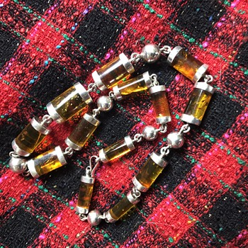 Antique Victorian  Chunky Scottish Sterling Silver & Amber Necklace  - Fine Jewelry