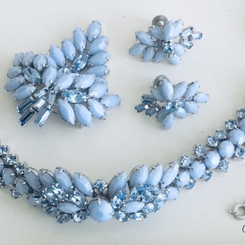 A Sherman Leaf, Opague Blue 4-Piece Parure - Costume Jewelry