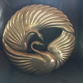 Korean Brass kissing swans - Art Deco