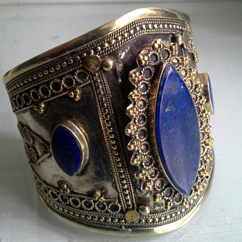 lapis pashtun turkmen tribal wedding bracelet cuff - Fine Jewelry