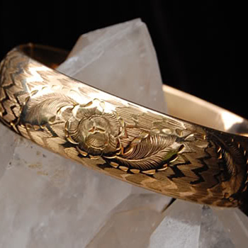 Edwardian GF bracelet, engraved for Ester M. Jaebker - Costume Jewelry
