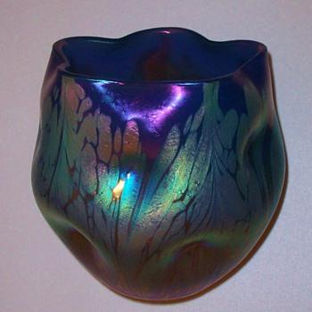 Loetz Blue Medici Vase. - Art Glass