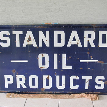 VINTAGE STANDARD OIL PRODUCTS DOUBLE SIDED PORCELAIN SIGN!! - Signs