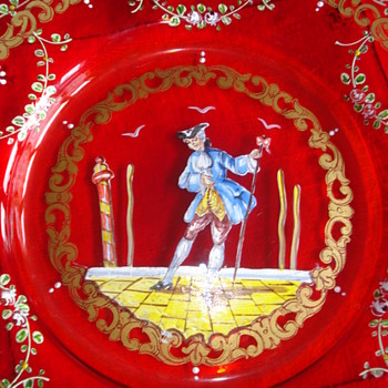 A ruby Moser Salviati Plate, hand painted - Art Glass