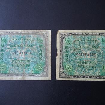 GERMANY Allied Military Currency 1/2 Mark 1944 WW II