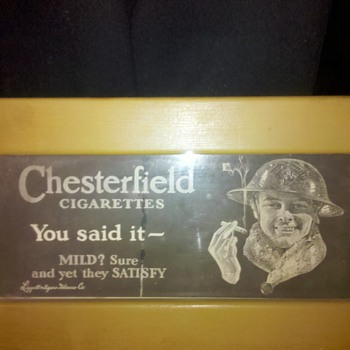 Pre WWII CHESTERFIELD Cigarette add with a US Marine - Military and Wartime