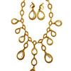 Vintage Goldette Clear Bezel Drop Bib Necklace and Earrings Set