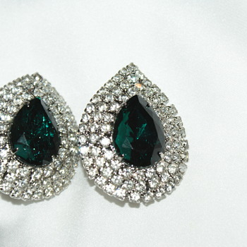Unmarked Rhinestone Earrings - Costume Jewelry