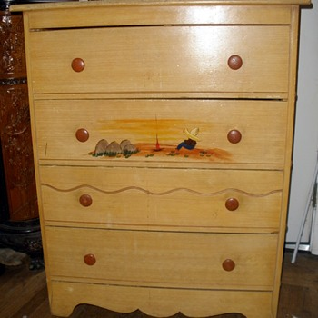 1930's Monterey Style Spanish Revival Chest Mexican Siesta Painting FREE Street Find! - Furniture
