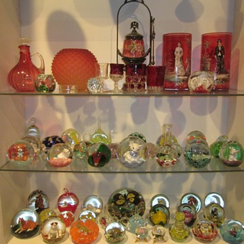 Cranberry glass and Paperweights
