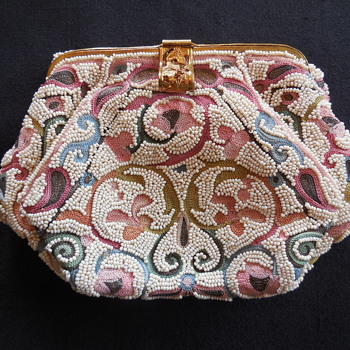 Vintage Hand Made In France Beaded And Embroidered Purse - Bags
