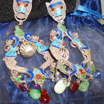 Gorgeous Chinese? Japanese Dragon  Koi Dangling Silver Enameled Earrings with Gems