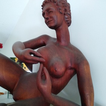 Life sized teak?  Woman - Fine Art