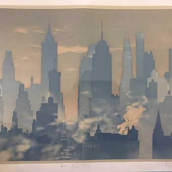 New York City, signed original print, need help with signature???? - Fine Art