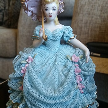 Porcelain Lady in Lace Dress with Parasol - Figurines