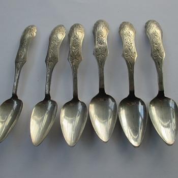 Set of 6 Dutch silver teaspoons - Silver