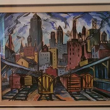 "Chicago Painting ""Back Of The Loop"" - Samuel Greenburg  - Fine Art"