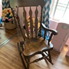 """1970-80s wooden rocker… 3"""" thick seat"""
