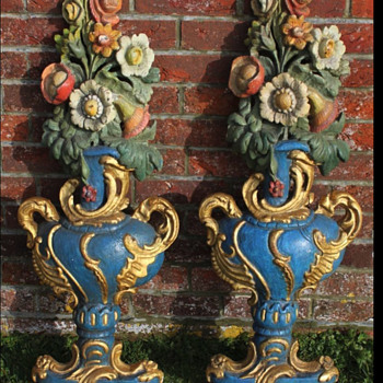 "Antique Pair of Historical Ship ""Berlin"" Vase Carvings Circa 1908 - Folk Art"