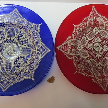 Hand Blown Glass Plates with Enamelled Lace Pattern - Art Glass