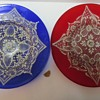 Hand Blown Glass Plates with Enamelled Lace Pattern
