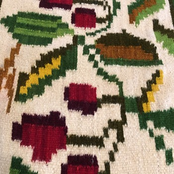 Hand loomed wool blanket.  Made in Greece March 1946 - Rugs and Textiles