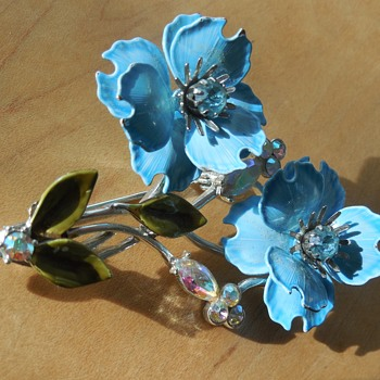 Coro Blue Flowers & Rhinestone Brooch - Costume Jewelry