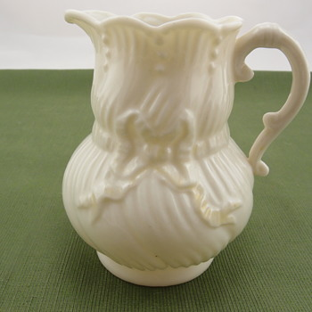 Belleek Ribbon Creamer - 3rd black mark - Pottery