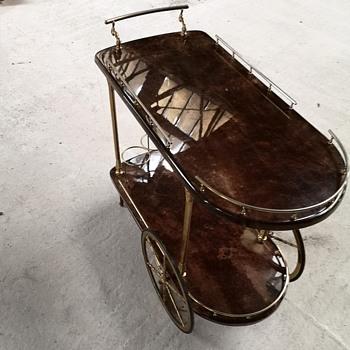 Goatskin bar cart by Aldo Tura - Furniture
