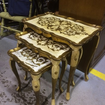 Italian Gold Leaf Coffee Table and Nesting Table Set