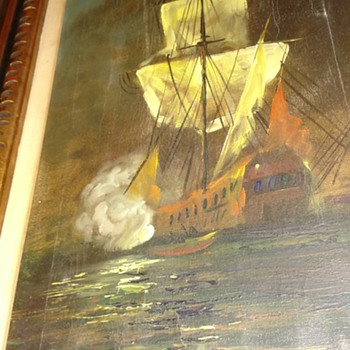 Oil Painting Ship at war - Fine Art