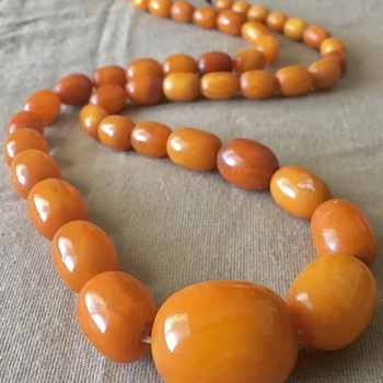 Antique Baltic Amber Bead Necklace  - Gemstones