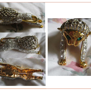 Leaping LION Pave' Shoulder Brooch - Costume Jewelry