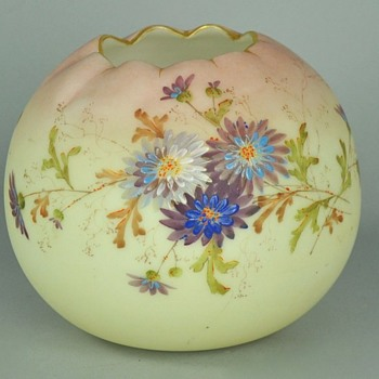 Mt. Washington Crown Milano Pseudo Burmese Victorian ERA Rose Bowl - Art Glass