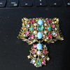 PASTEL colored rhinestone HOLLYCRAFT brooch