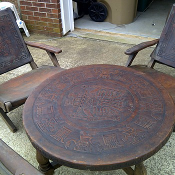 Incan Gods hand carved leather table with folding chairs. - Furniture