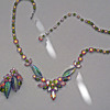 Rare Sherman Necklace, Pink & Green With Pressed Glass Leaves, Sherman Signed With Exact Match Earrings, Circa 1955