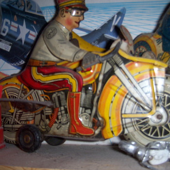 Marx wind up motocycle cop with siren - Motorcycles