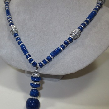 1920s-30s Czech Art Deco Blue Imitation Lapis Glass Necklace