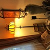 Twisted wrought iron floor lamp