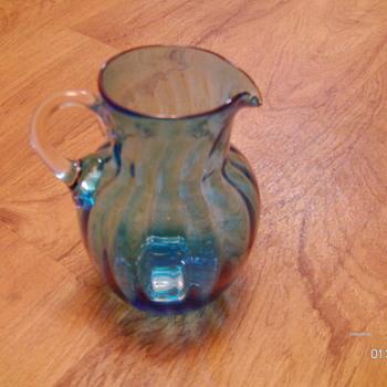 Unknown greenish/blue swirl blown pitcher - Glassware