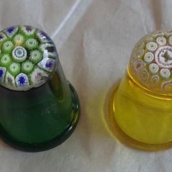 Caithness Glass Miniature Millefiori Paperweight Thimbles - Art Glass