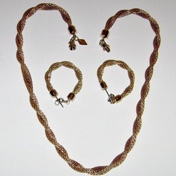 Sarah Coventry Necklace and Earrings - Golden Braids - Costume Jewelry